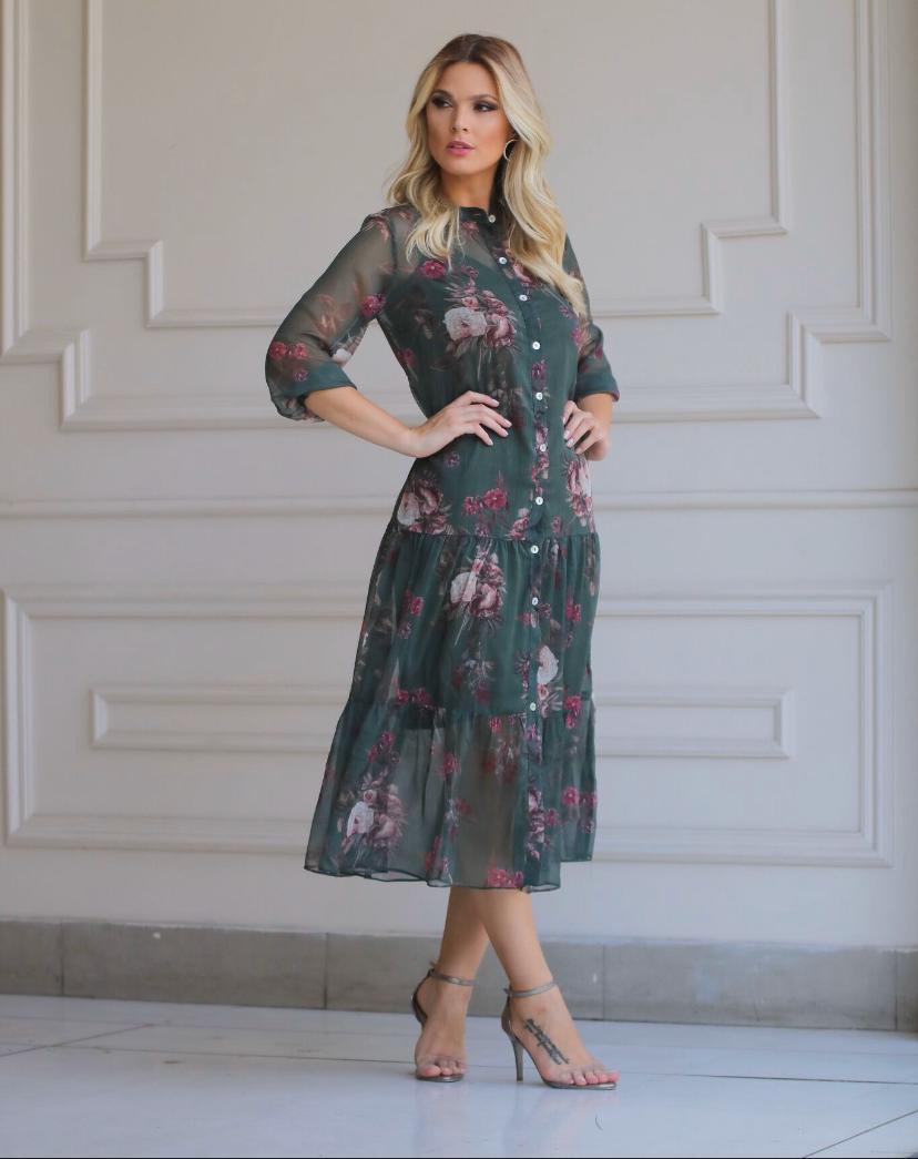 Vestido Mirela Chemise Chiffon + Forro (2 Peças)