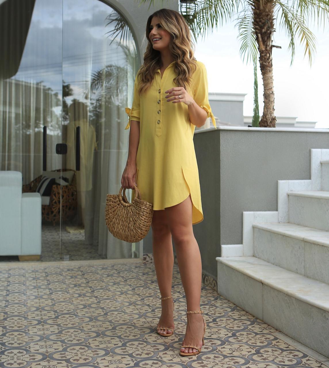Vestido Mirela Chemise Linho Cores Bege e AZUL