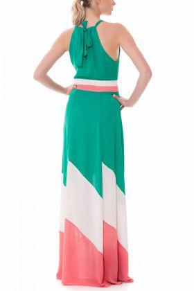 Vestido Mirela Longo Crepe Colors e gola com amarração nas costas