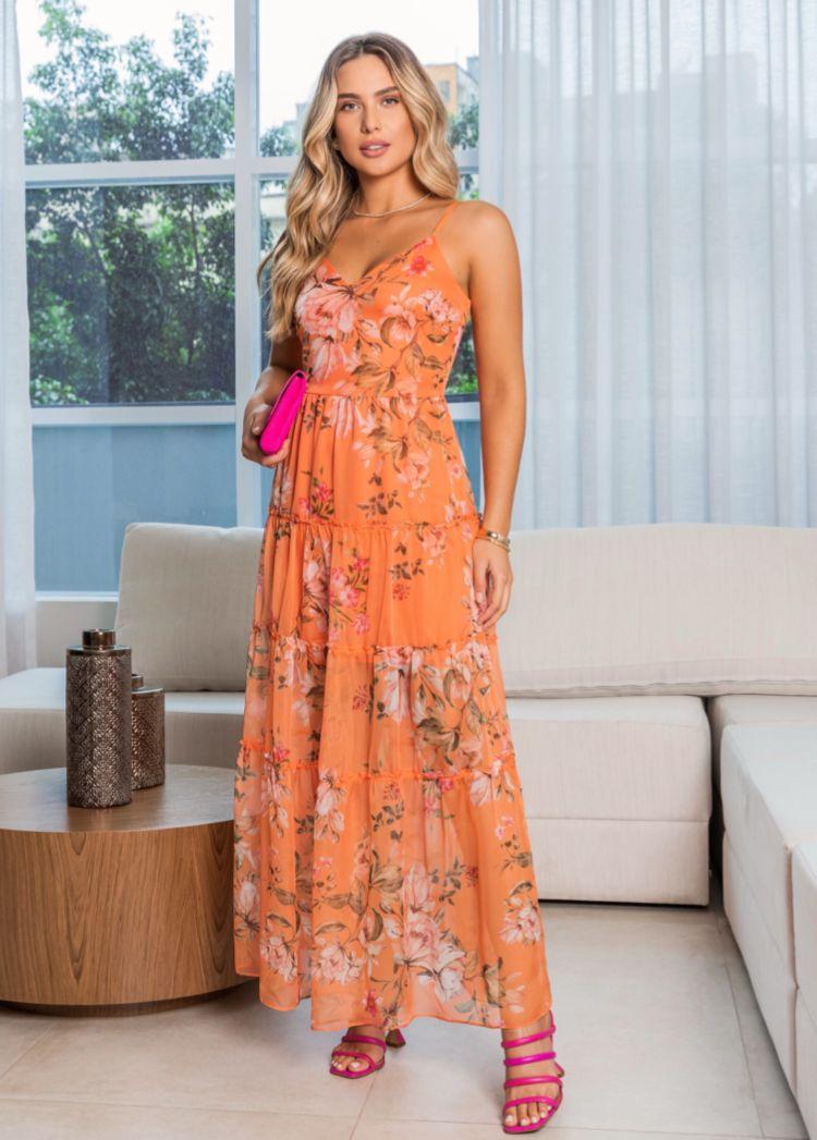 Vestido Mireya Floral (Forro) Detalhe Camadas