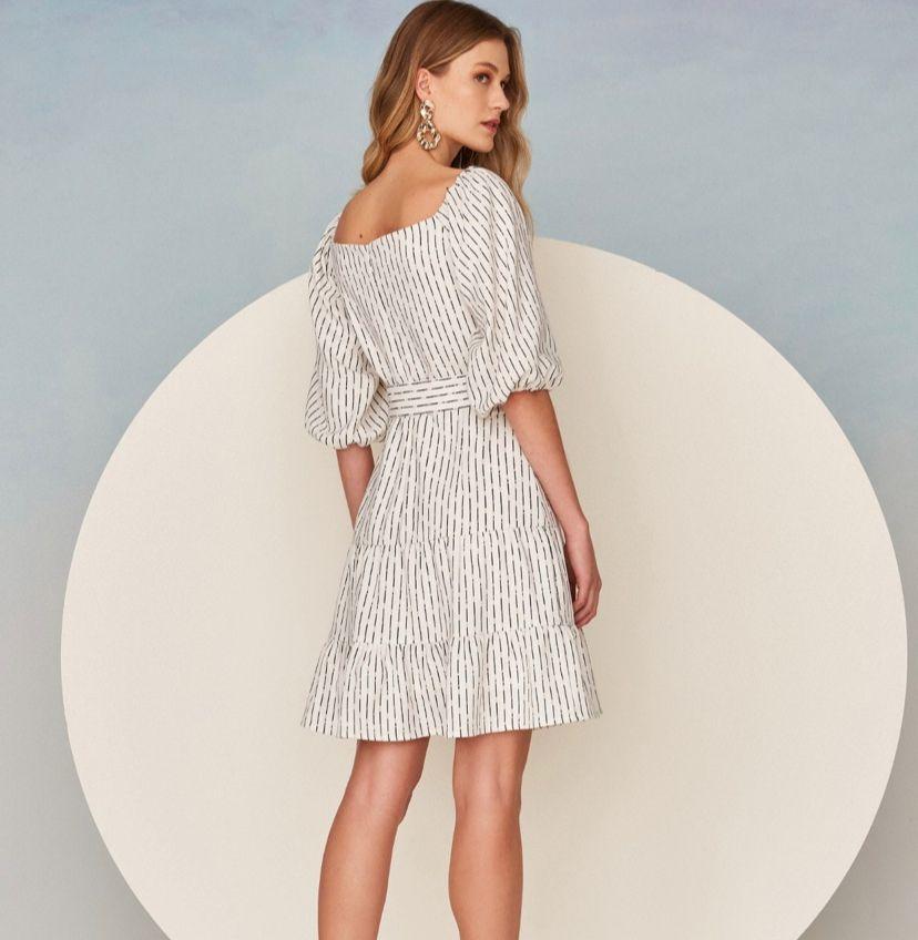 Vestido Monica Crepe Alfaiataria Print + Cinto Forrado
