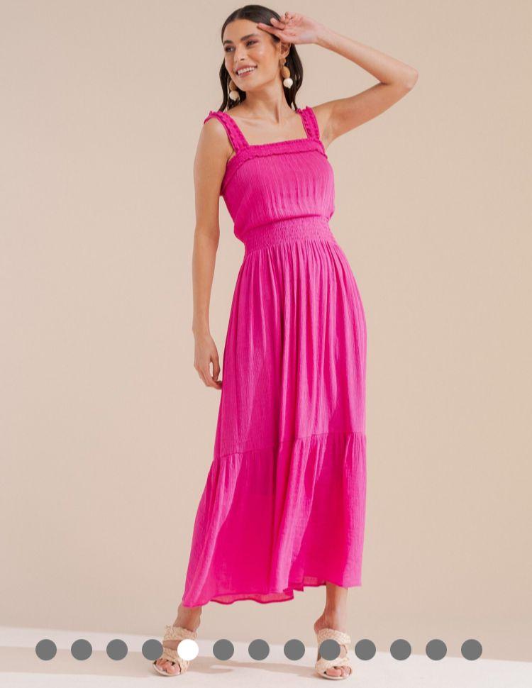 Vestido Monica Midi Crepe Textura Detalhe Lastex