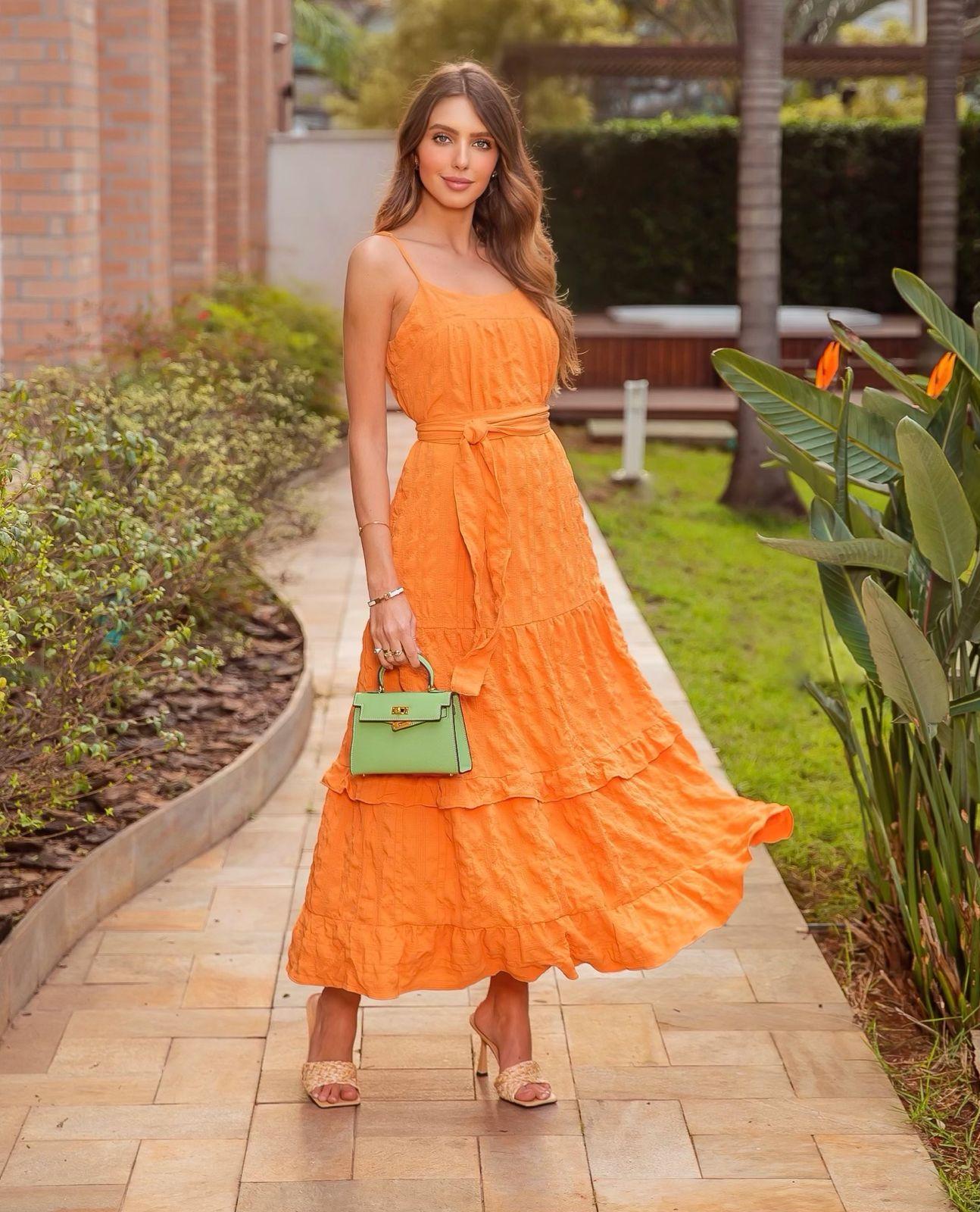 Vestido Monique Crepe Breeze Vichy Alcinha Detalhe Babados 2% Elastano + Faixa