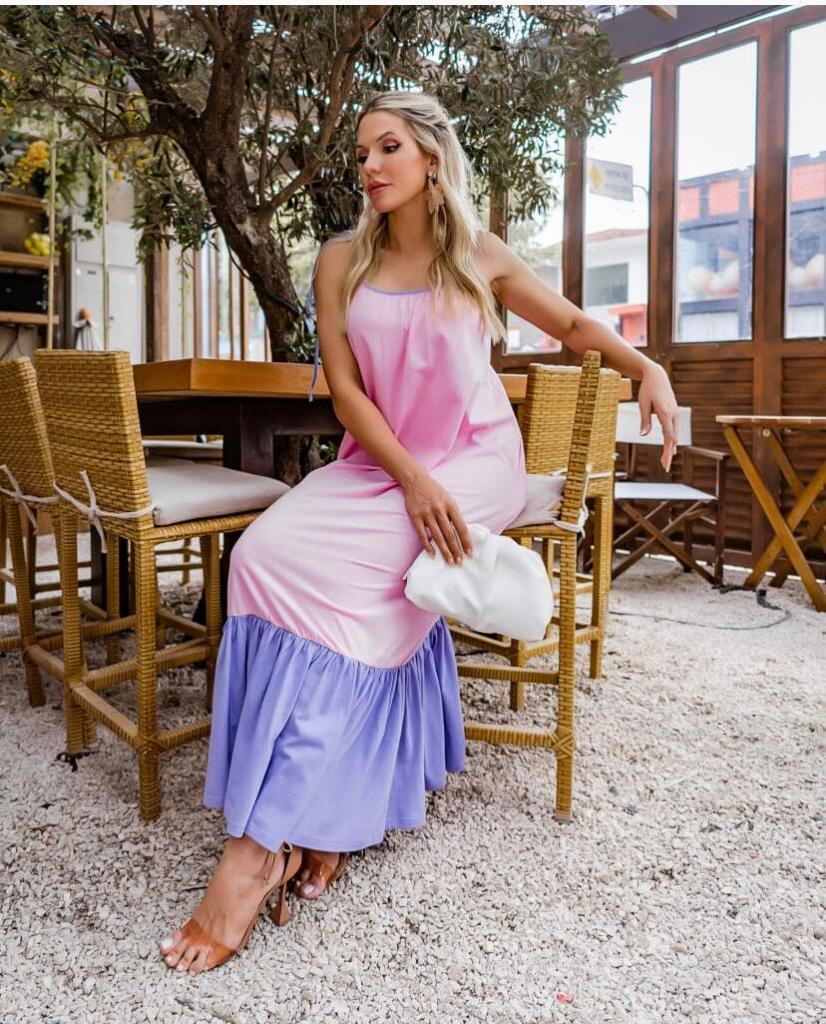 Vestido Morina Algodão Bicolor