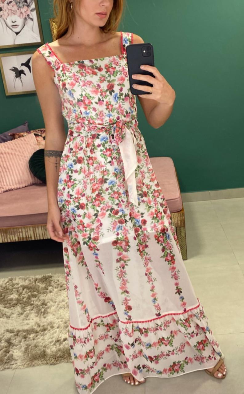 Vestido Morina Chiffon   Floral  Com Amarração