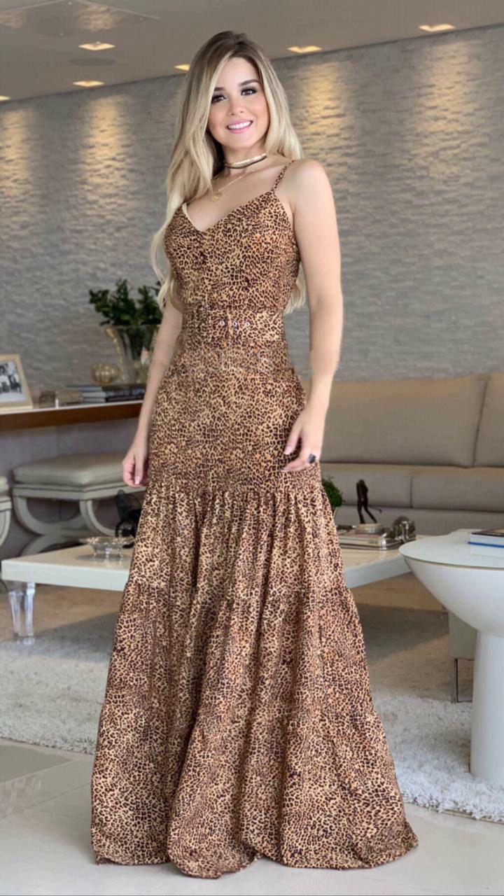 Vestido Morina Chifon Crepe 3 Babados + Cinto