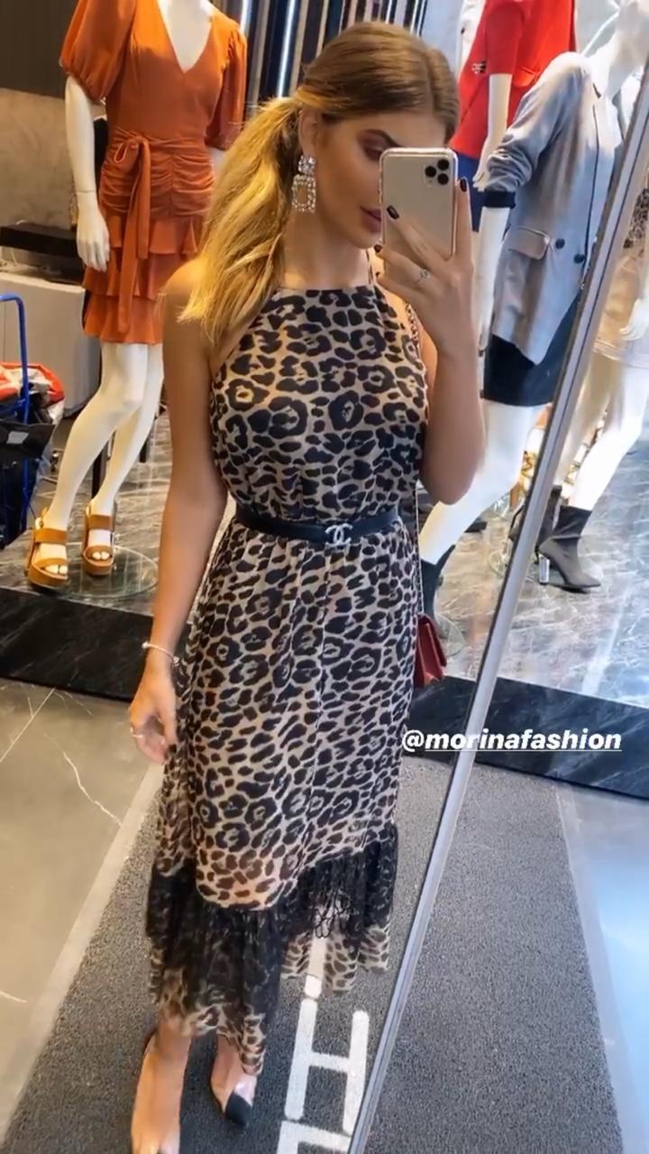 Vestido Morina  Chifon Onça com Renda (não acompanha cinto)