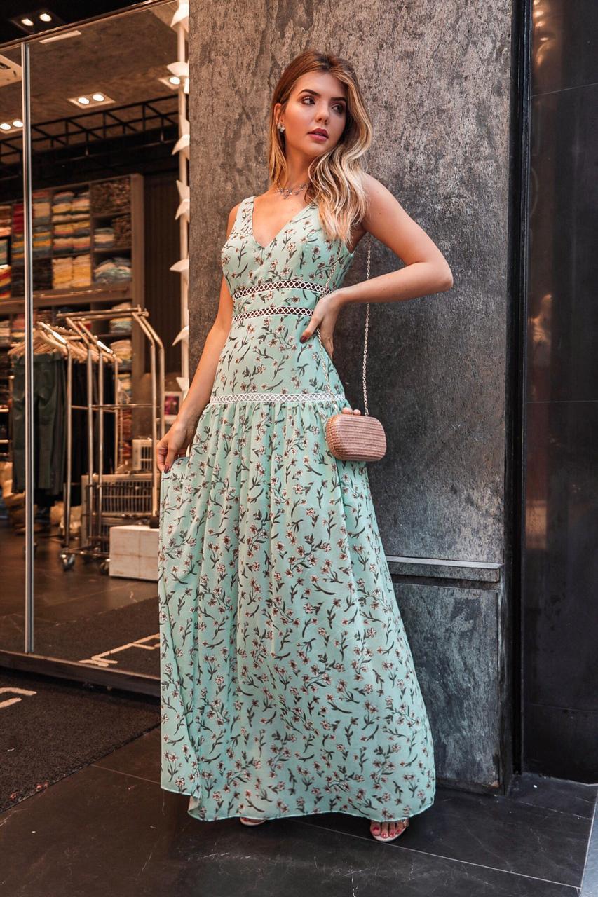 Vestido Morina Crepe Floral  detalhe em Renda palito