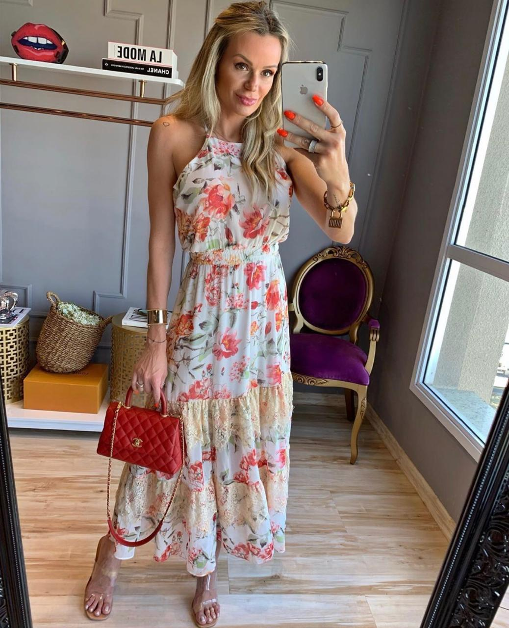 Vestido Morina Crepe Floral Garden Com Renda