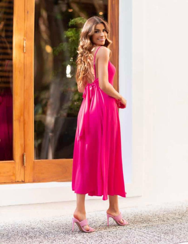 Vestido Morina Crepe  Laço nas Costas 3% Elastano