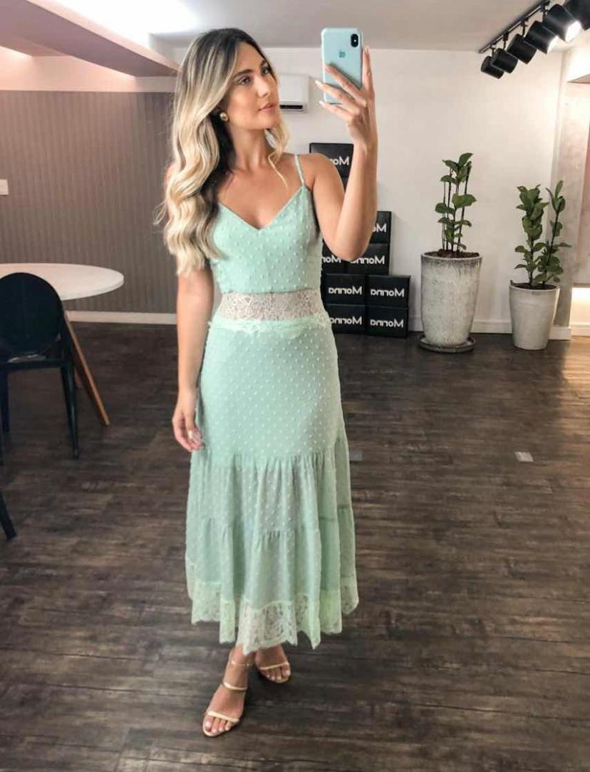 Vestido Morina Crepe Mini Poa Com Renda