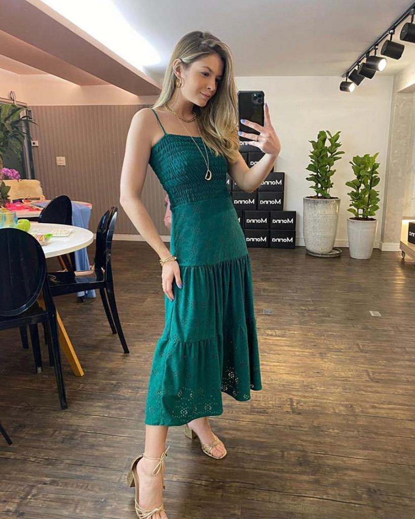 Vestido Morina  laise Malha  Com lastex