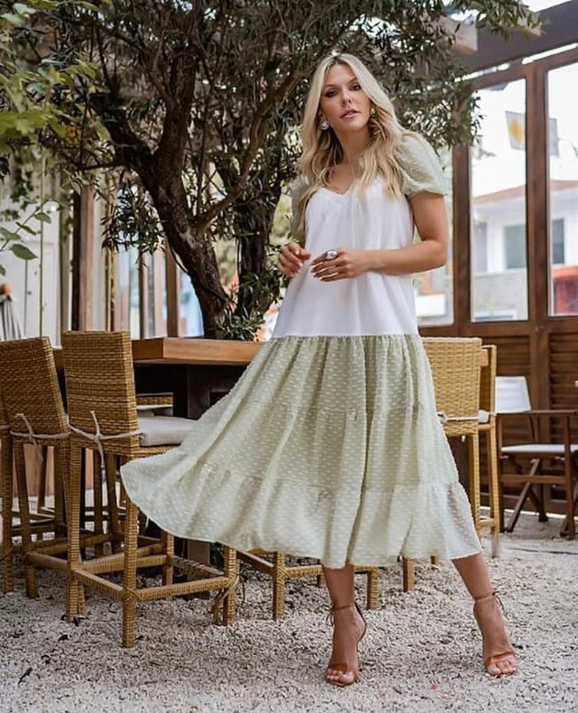 Vestido Morina Malha + Crepe