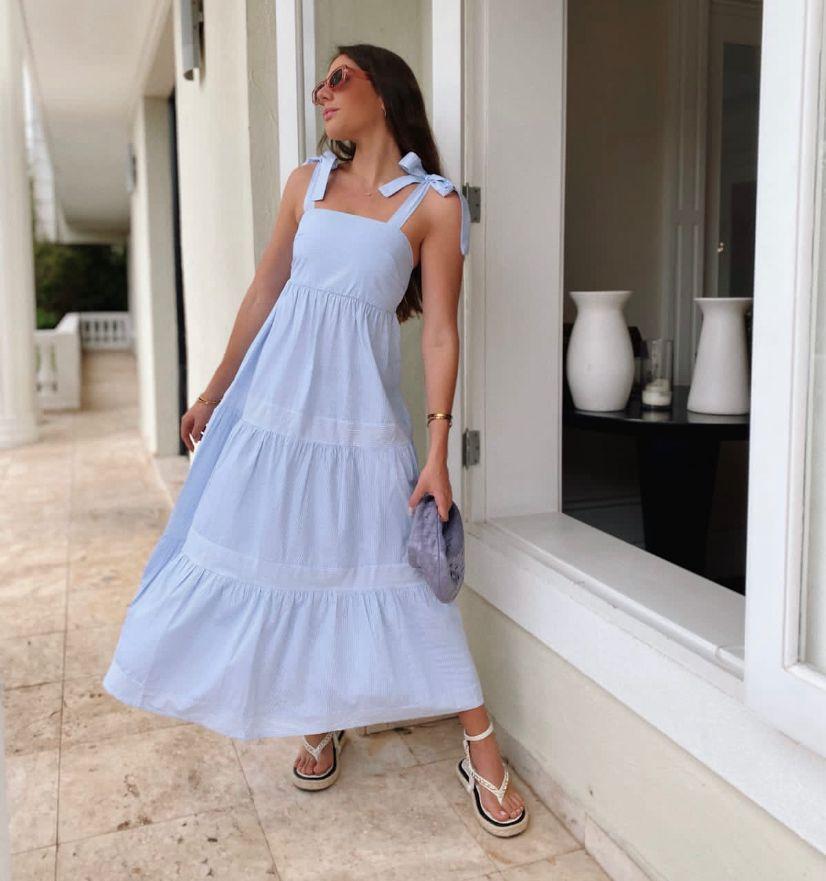 Vestido Morina Mallorca Tricoline Listrado Detalhe Alça Amarração Babados