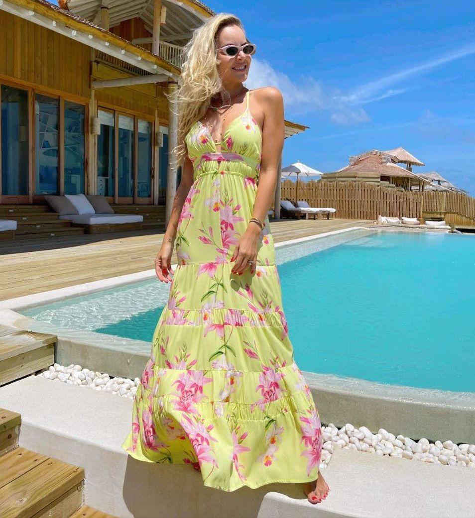 Vestido Morina Pietra Viscose Floral Detalhe Decote