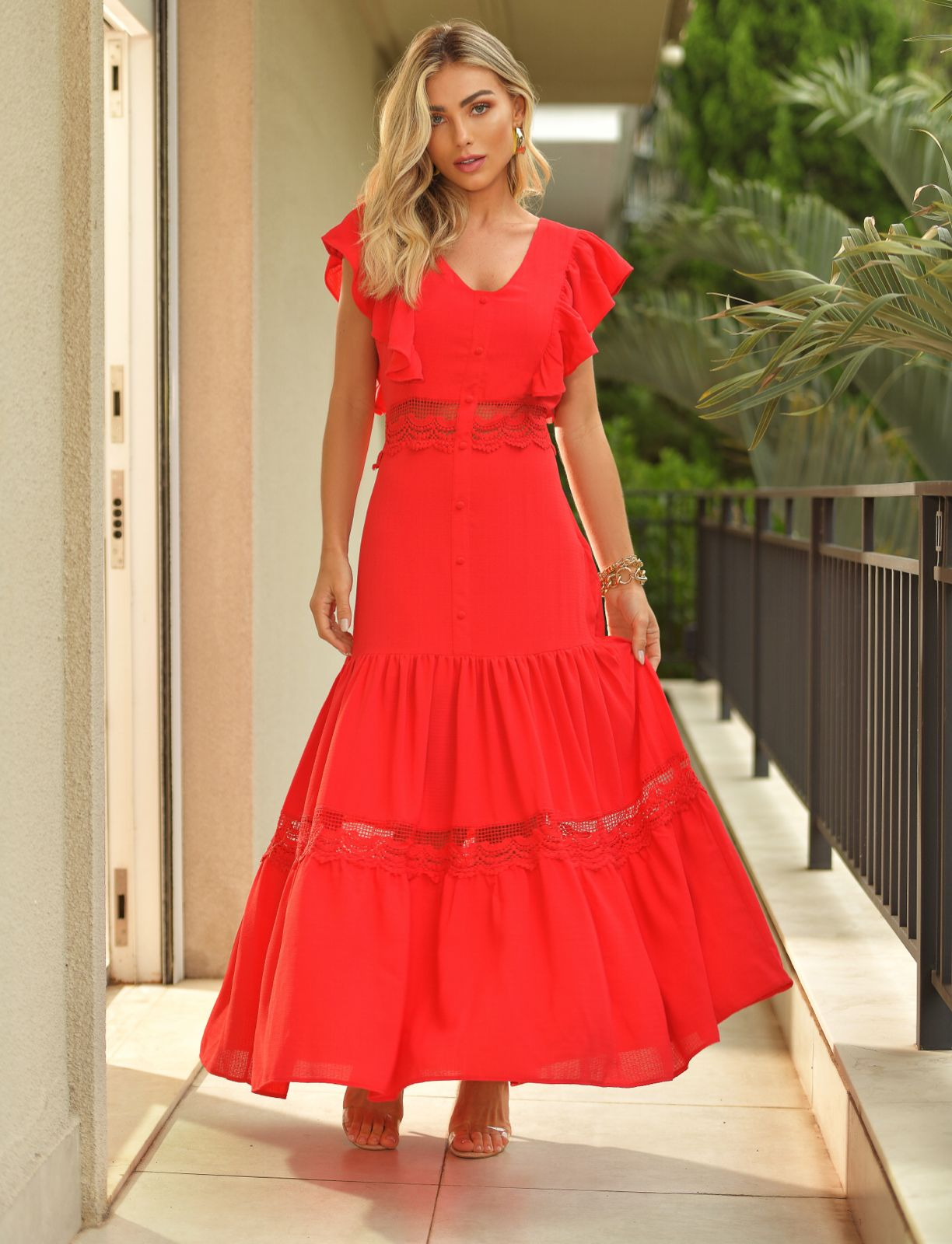 Vestido  Morina Sundance Crepe Detalhe em Renda