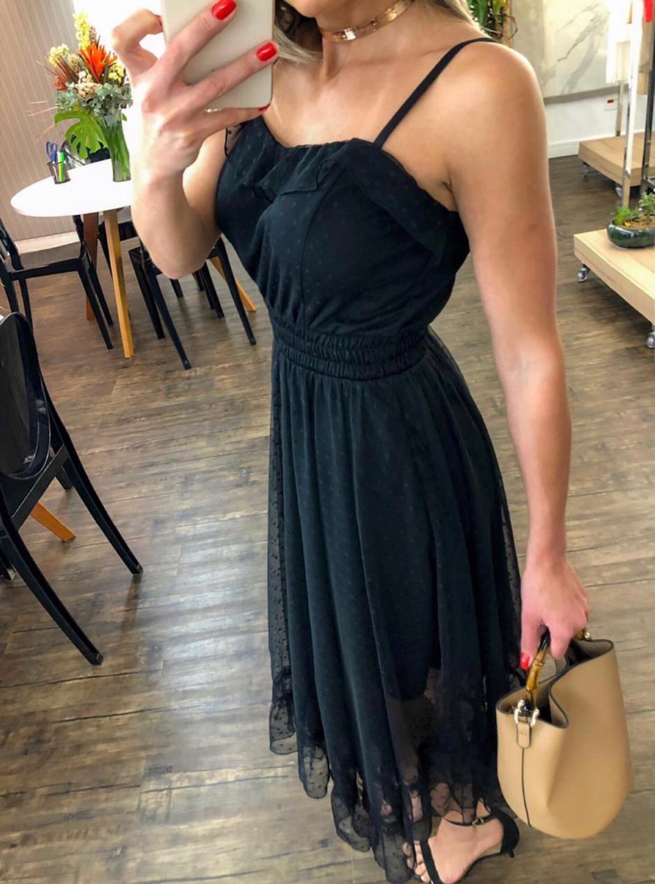 Vestido  Morina  Tule  Mid  Alça regulável