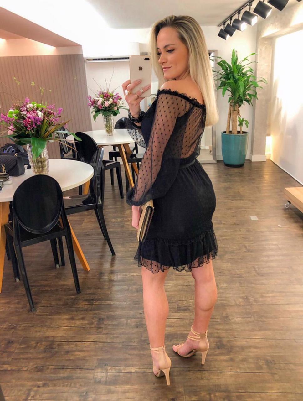 Vestido Morina Tule Poa Ombro a Ombro C/Cinto
