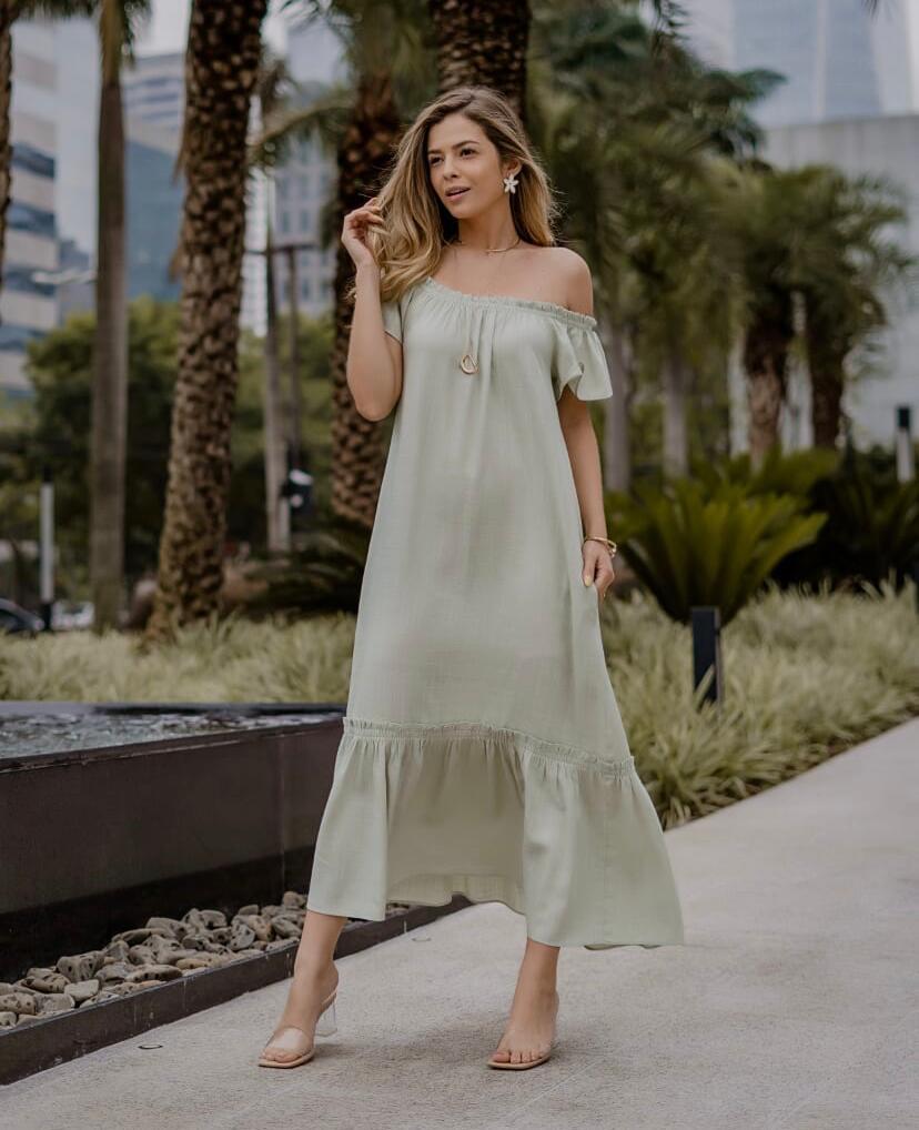 Vestido Morina Viscolinho New Shape Com Faixa