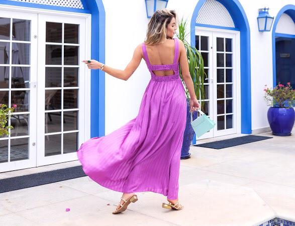 Vestido Nailane Viscose Fluido Detalhe Cintura Decote Costas Fenda Frontal