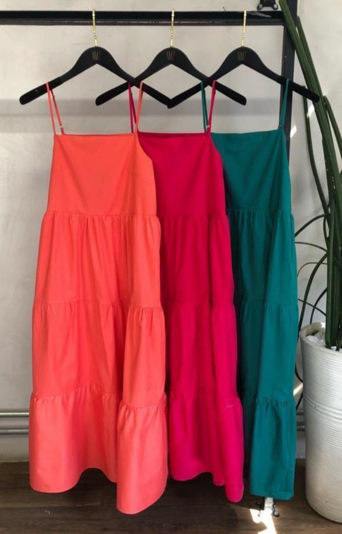 Vestido Nara Tricoline Camdas  Alça 3% Elastano