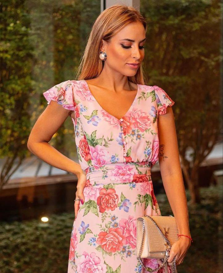 Vestido Natacha Chiffon Midi floral (Forro) Detalhe Pregas Cintura Babados