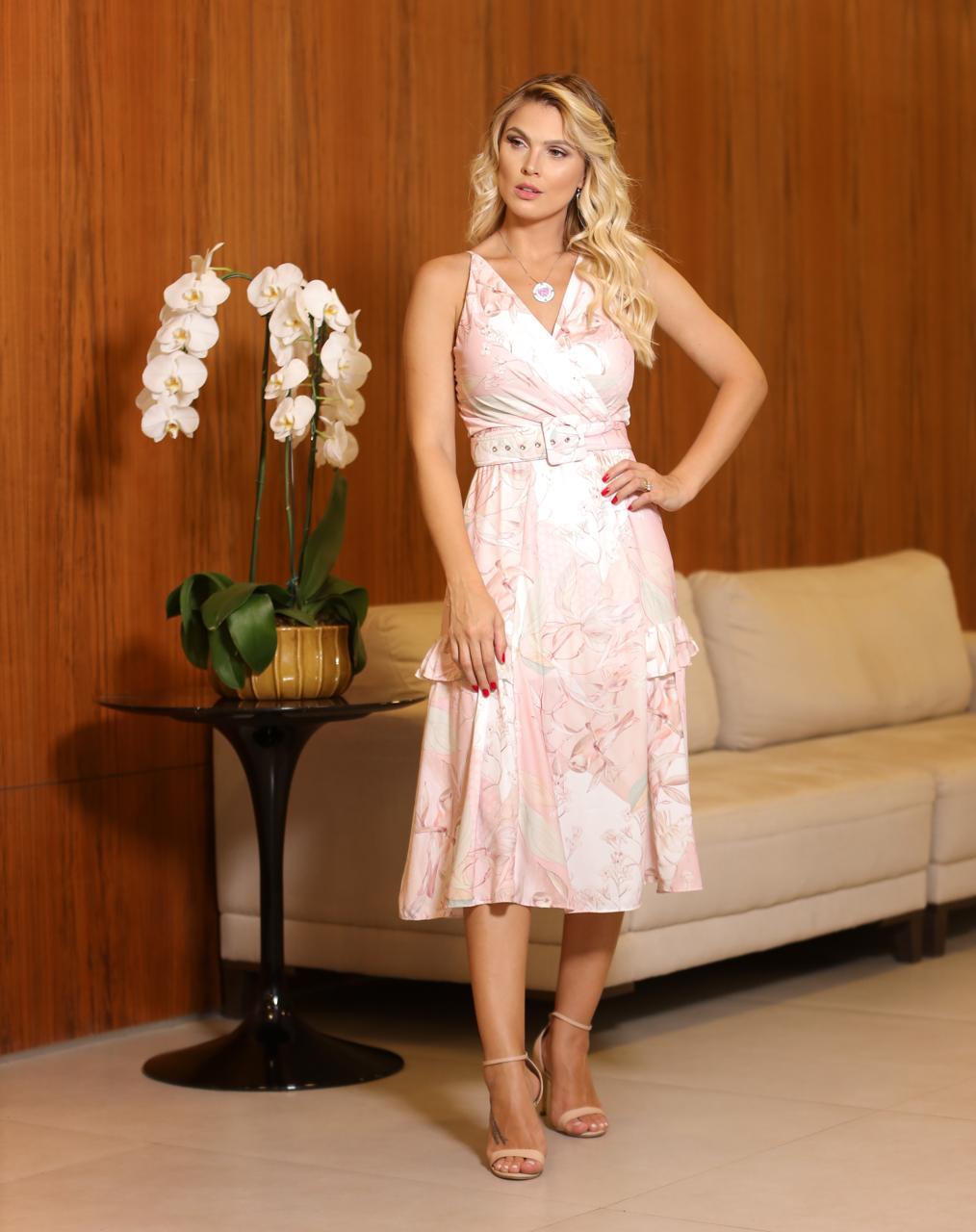 Vestido Natali Crepe Floral Com Cinto