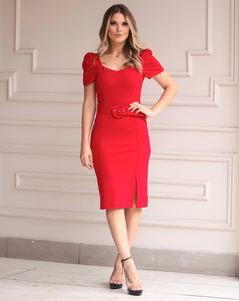 Vestido Natalia Crepe Alfaiataria Midi  Com Cinto 4% Elastano