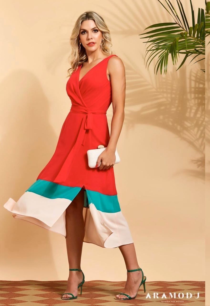 Vestido Natalia Crepe Midi Tricolor + Faixa