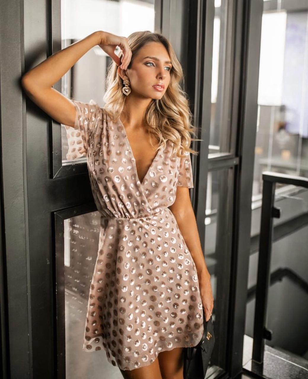 Vestido Natasha  Tule Bordado com Paete