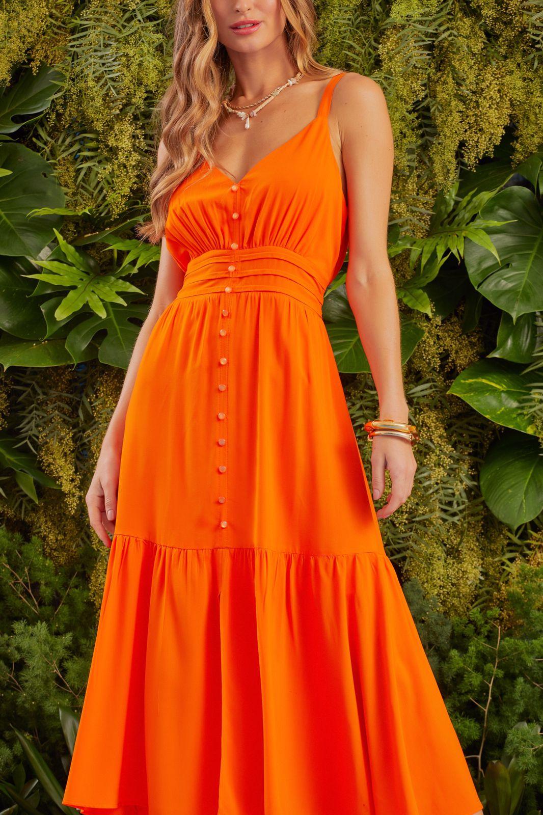Vestido Nati Vicose (Forro) Detalhe Elástico Cintura Botões C/ Fenda