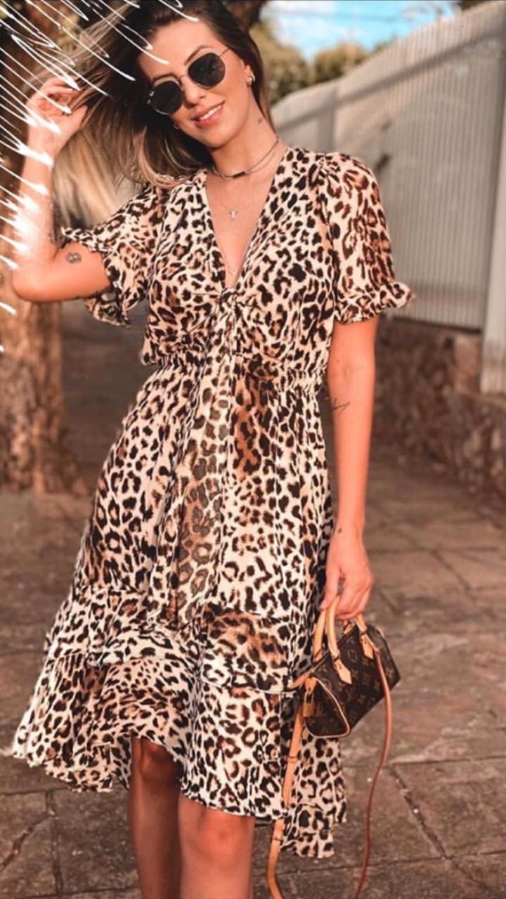 Vestido Natti Crepe Animal Print
