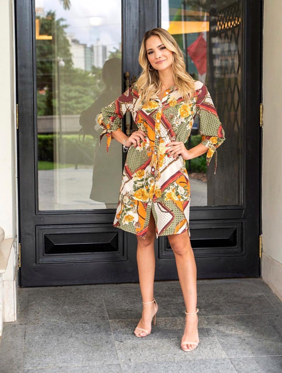 Vestido Nicole Chemise Crepe Detalhe Laço Manga + Cinto