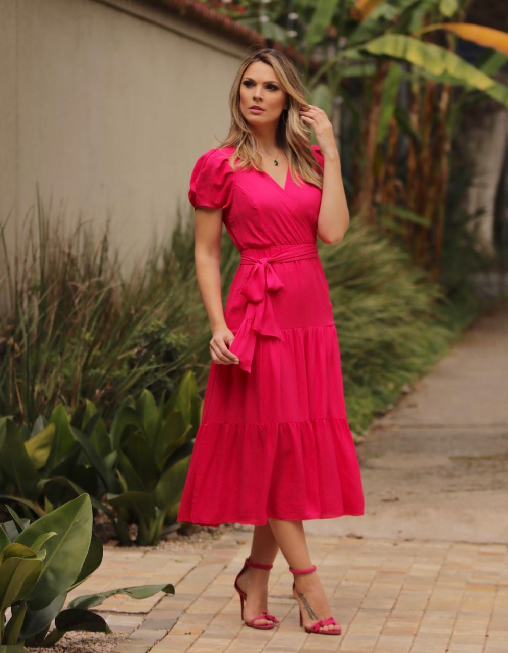 Vestido Nicole Crepe +Faixa(Cinto) Pink