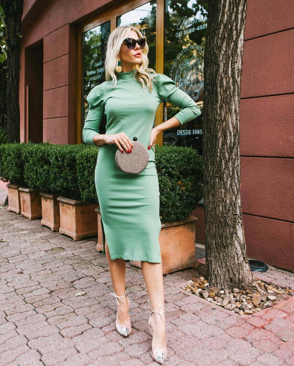 Vestido Nicole Malha Canelado 5% Elastano