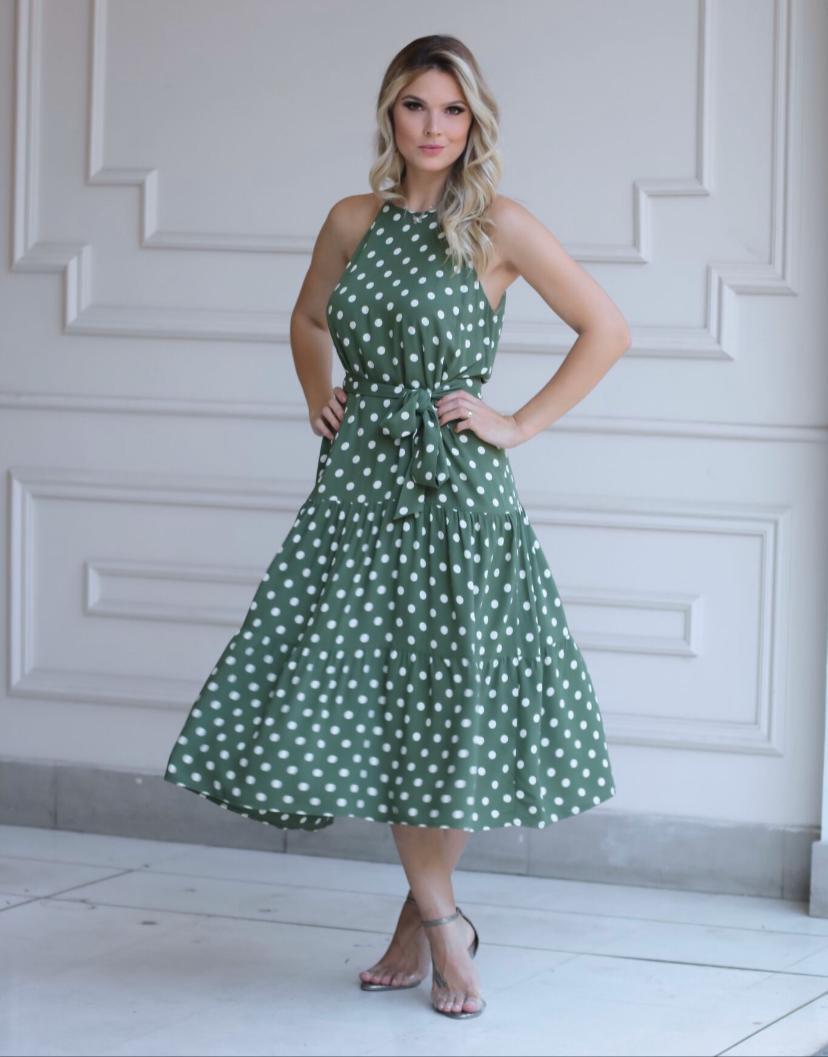 Vestido Nicole Visco  Poa  Midi c/Faixa