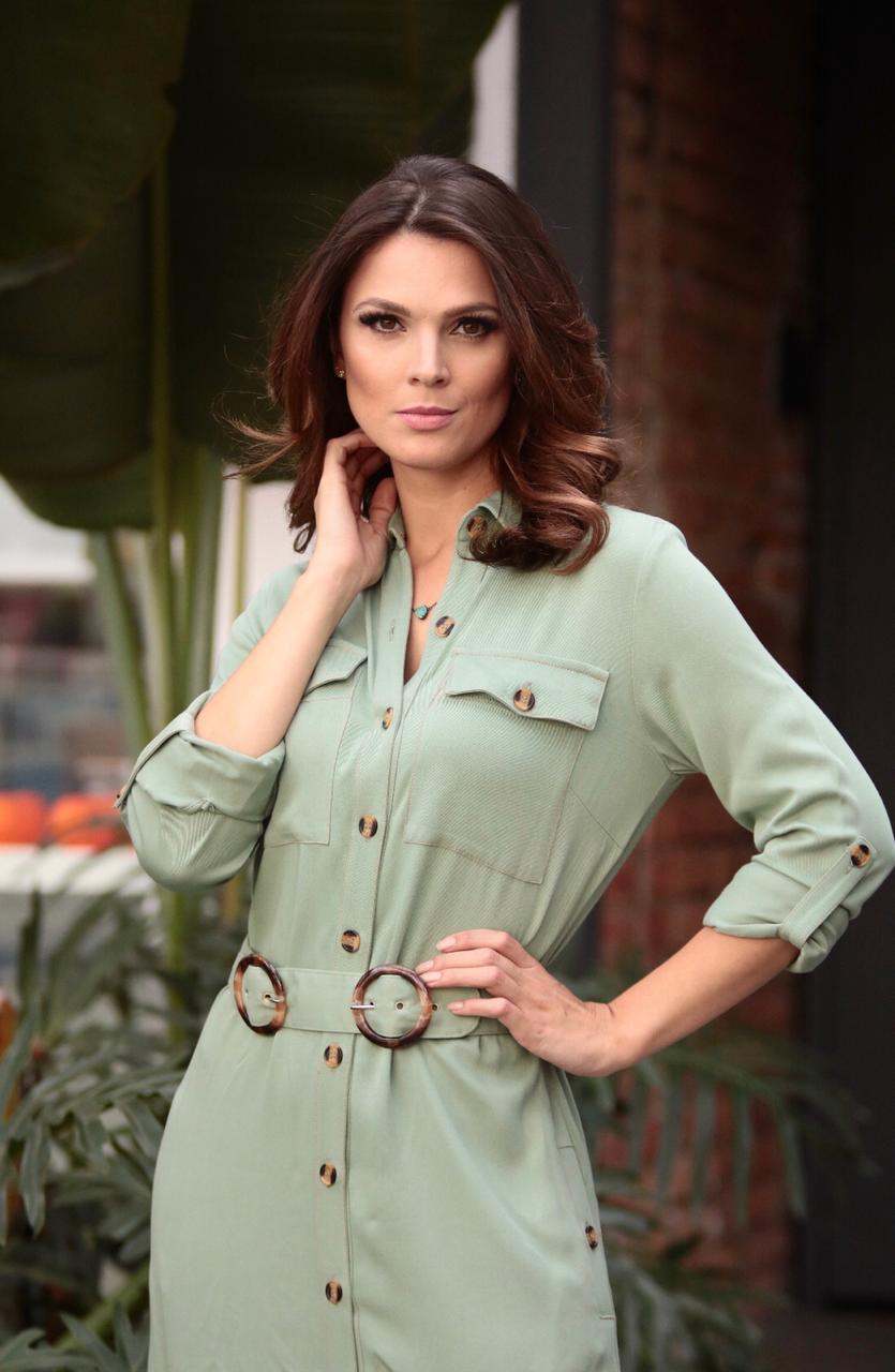 Vestido  Chemise Viscosarja   Longo   com botôes naturais + Cinto