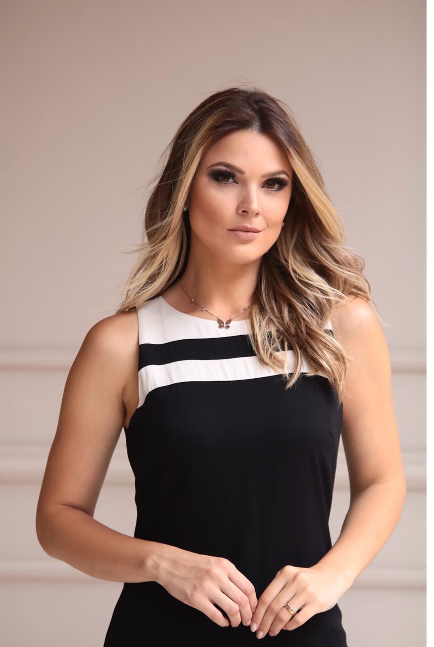 Vestido  Nuxx Sarja & Viscose Curto Bicolor