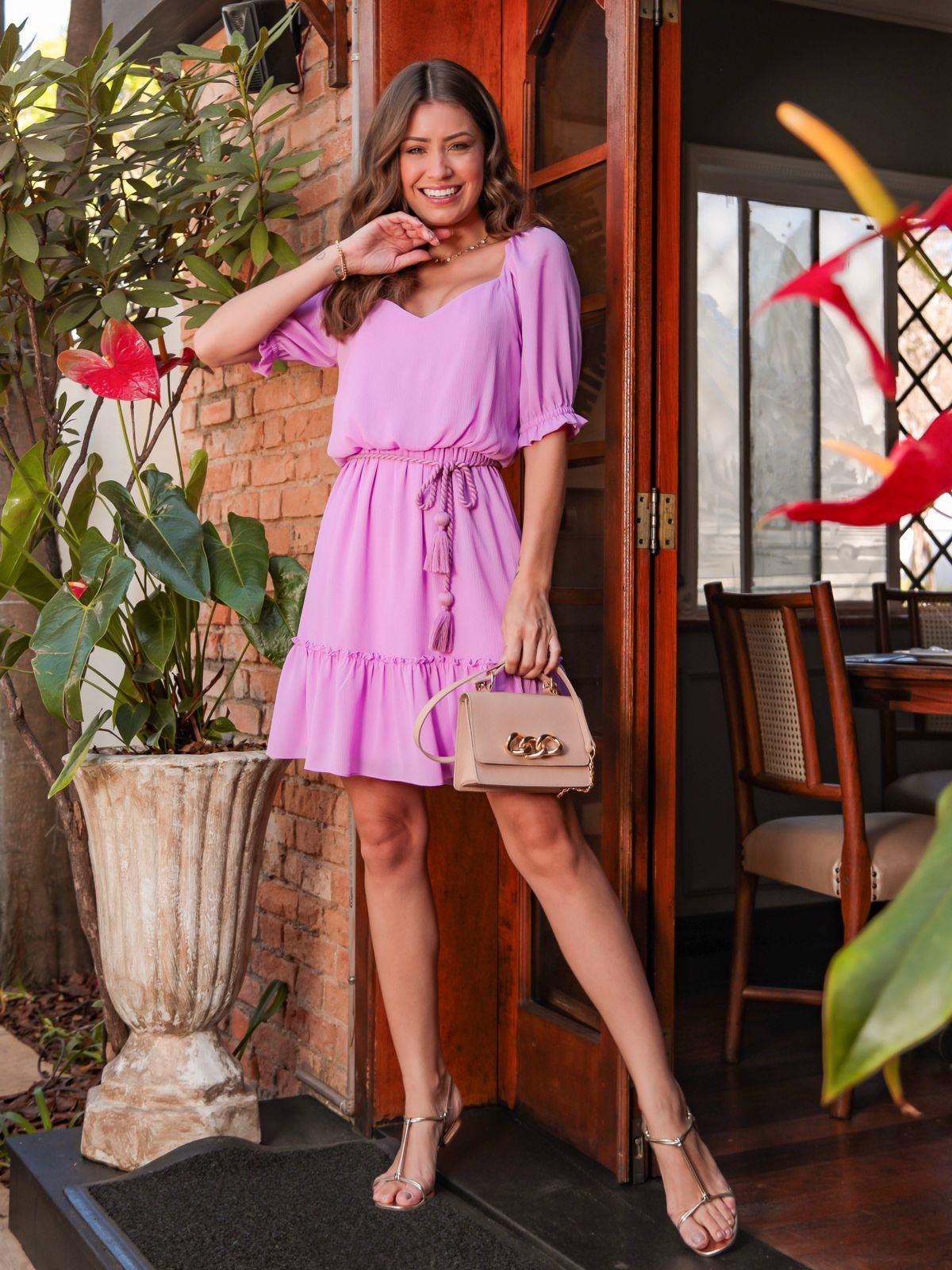 Vestido Paloma Chiffon Texturizado (Forro) Detalhe Decote Princesa + Cinto Corda