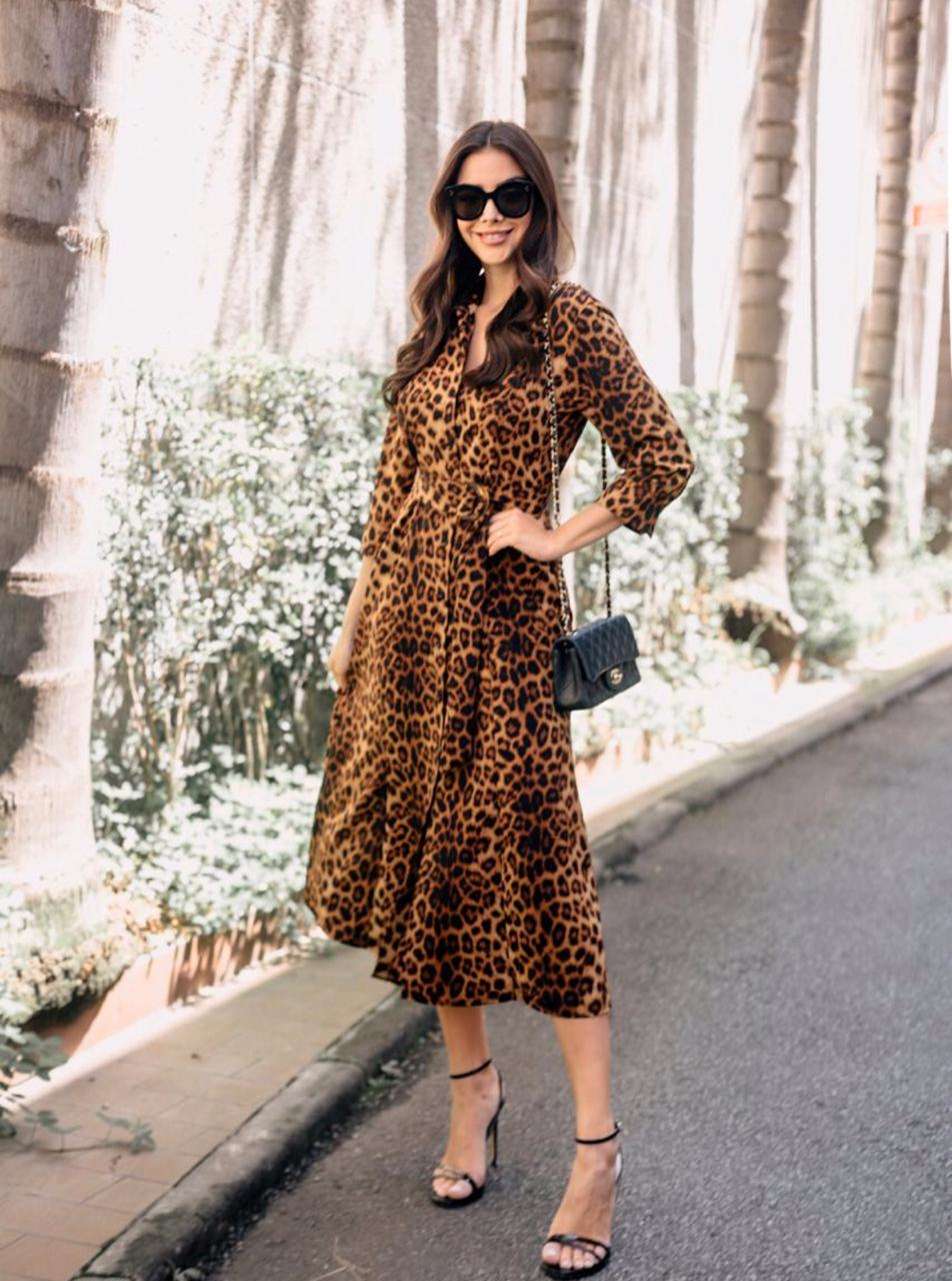 Vestido Pamela Chemise Crepe  Animalprint + Cinto