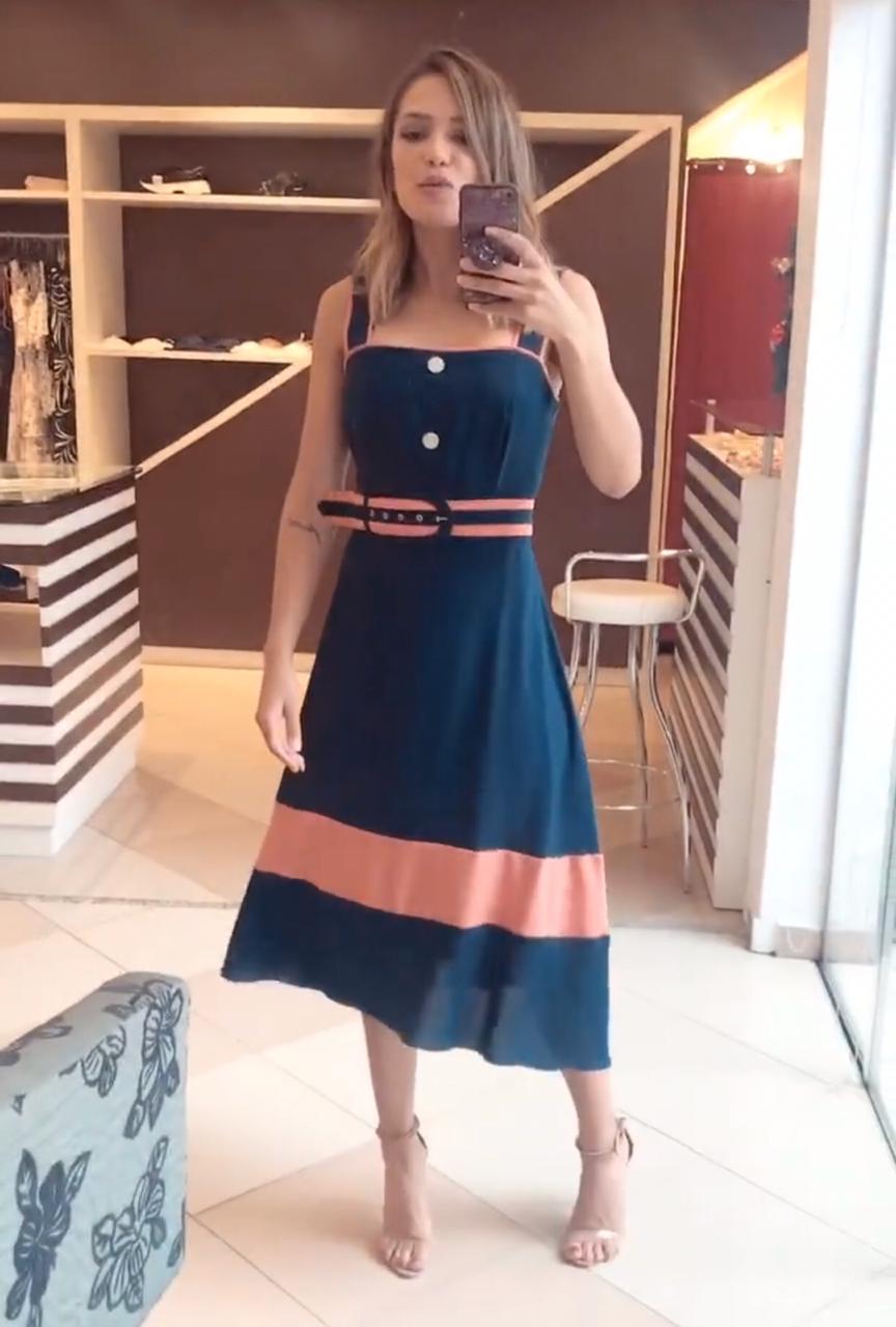 Vestido Pamela Crepe Midi Bicolor + Cinto