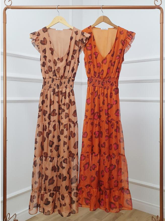 Vestido Pamela Crepe toque  de Seda  Animal Print