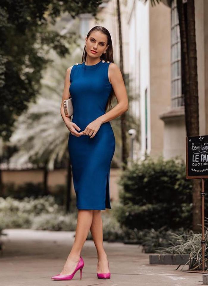 Vestido Pamela   Midi  Com 6 %Elastano