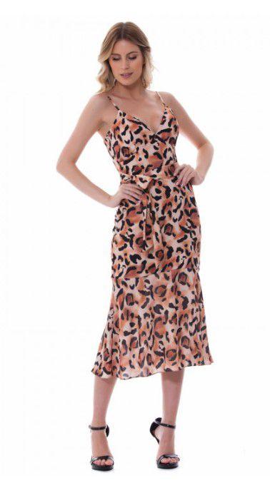 Vestido Paola  Crepe Midi Onça Com  Amarração  Frontal 6% elastano