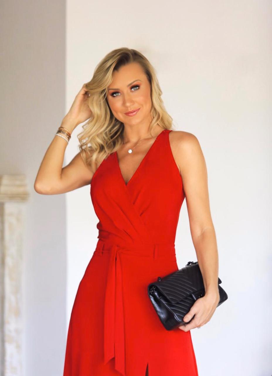 Vestido Paola Transpassado Fenda Crepe 4% elastano