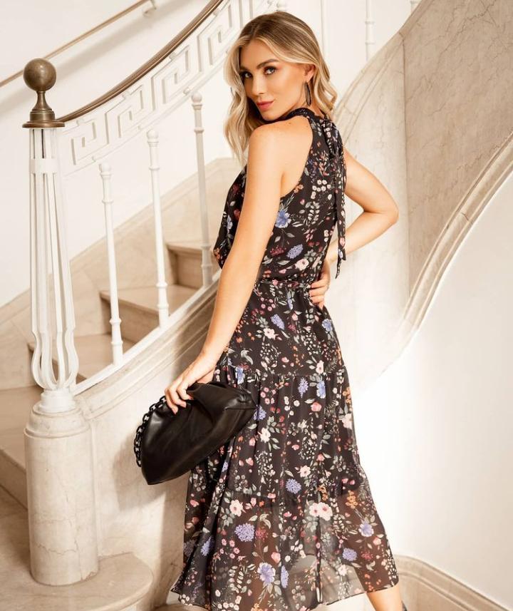 Vestido Patrícia Crepe Midi Floral (Forro)