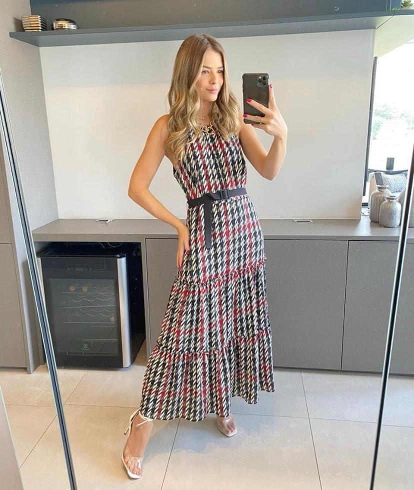 Vestido Patricia Crepe Xadrez + Cinto