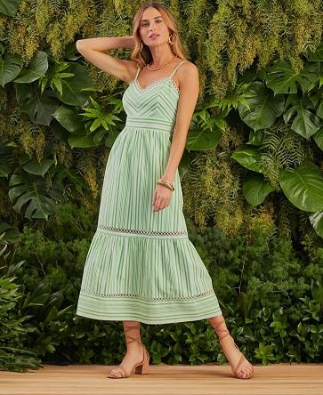 Vestido Peonia Tricoline Detalhe Renda Recortes Vazado