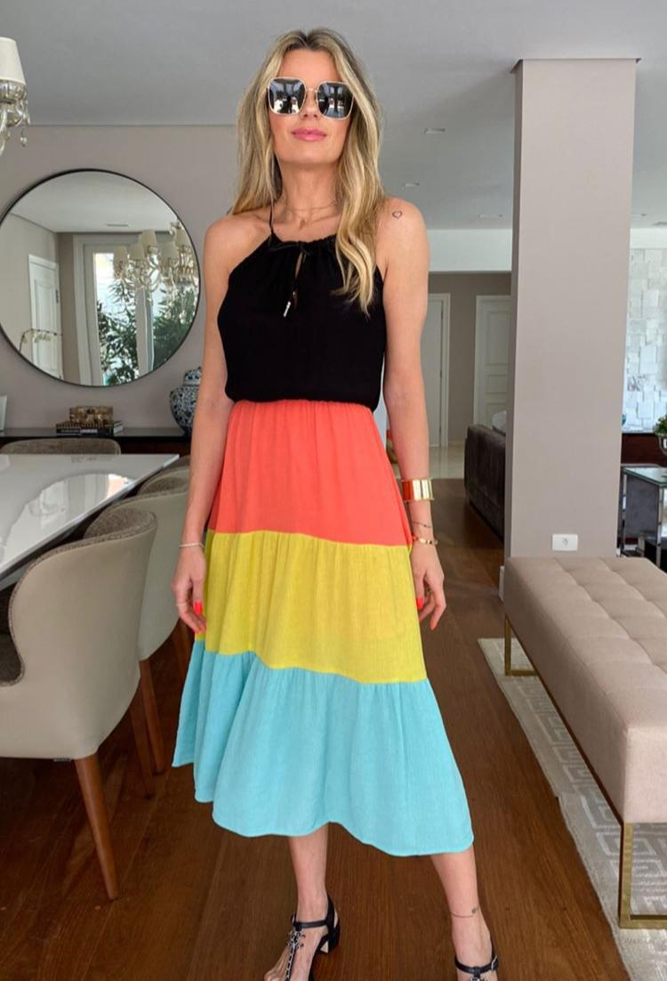 Vestido Priscila Crepe Chiffon ( forro saia) preto