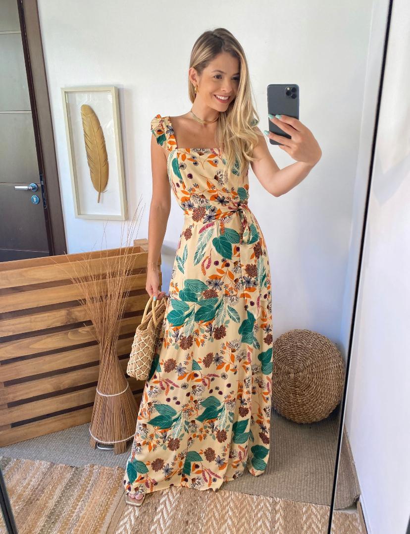 Vestido Raissa Viscose Estampa C/ Babados Alça +Faixa